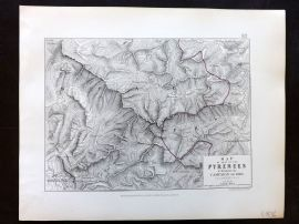 Alison & Johnston 1852 Battle Map of the Pyrenees. Campaign of 1813. France 18